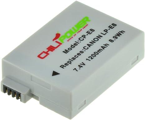 ChiliPower 2-Pack LP-E8 (1300mAh) Batería para Canon EOS 550D, EOS 600D EOS 650D, EOS 700D, EOS Rebel T2i, T3i, T4i, T5i, Kiss X4, X5, X6, LC-E8E: Amazon.es: Electrónica