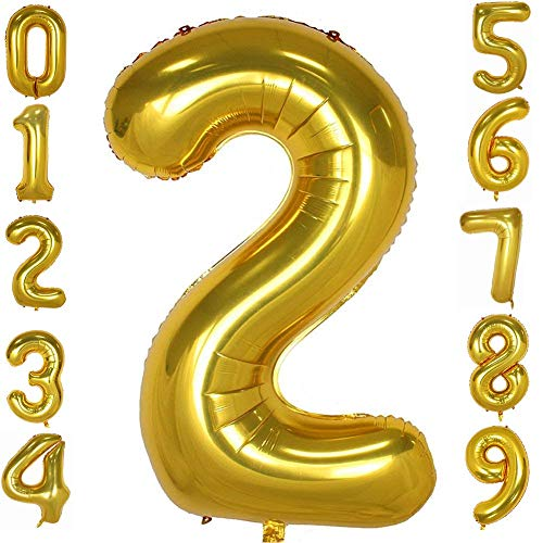 Tellpet Gold Number 2 Balloon, 40 Inch]()