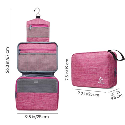 Hanging Travel Toiletry Bag Cosmetic Make up Organizer for Women and Girls (Bright Pink)