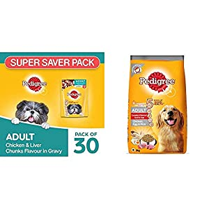 Pedigree Adult Wet Dog Food, Chicken and Liver Chunks in Gravy, 30 Pouches (30 x 80g) & Pedigree Adult Dry Dog Food, (High Protein Variant), Chicken Egg and Rice, 3kg Pack