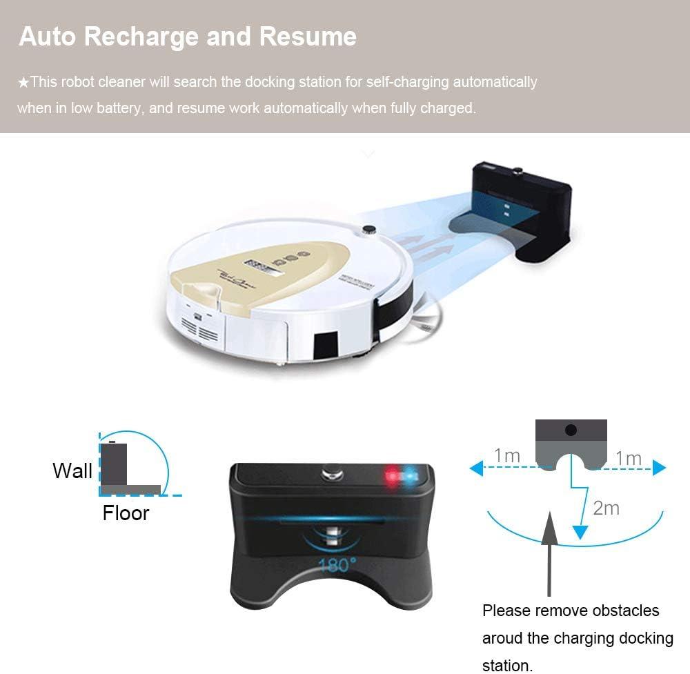 Amtidy Robot aspiradora, 3 etapas de limpieza fuerte succión auto carga mando a distancia, 8,7 cm de altura delgada, silencioso, bloqueo virtual, horario, Smart Robot aspirador para suelos duros alfombras azulejos: Amazon.es: