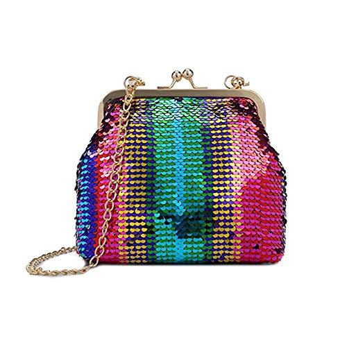 Pink Multi Handbag Color (Women's Glitter Sequins Evening Bag Crossbody Purse Shiny Clutch Handbag with Kiss Lock)