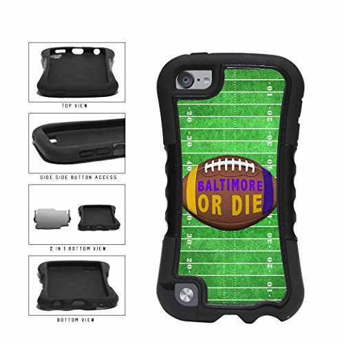 Baltimore Ravens Ipod Skin (Baltimore or Die Football Field 2-Piece Dual Layer Phone Case Back Cover Apple iPod Touch 5th Generation comes with Security Tag and MyPhone Designs(TM) Cleaning Cloth)