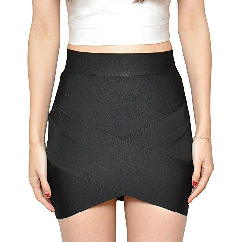 HLBandage Women's Sexy Irregular Mini Bandage Skirt Noir