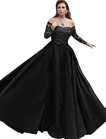 LastBridal Women Satin Off The Shoulder Ball Gown Long Sleeves Sequined Prom Dresses Evening Gowns Long