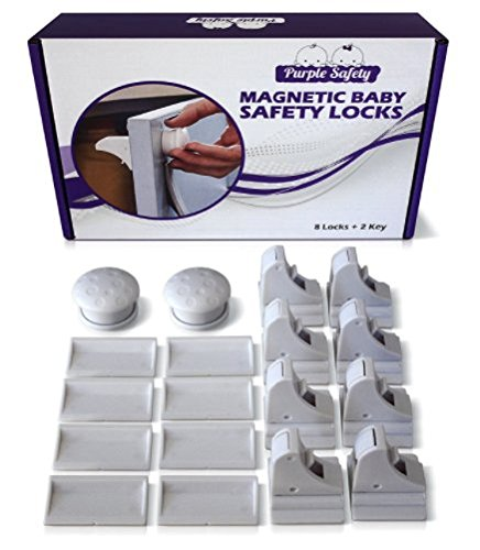 Magnetic Baby Safety Locks for Cabinets & Drawers - Baby Proof & Easy Install - No Screws or Drilling - 8+2 - Purple Aesthetic