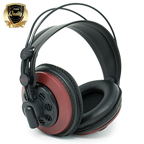 AKG M220 Pro Stylist Professional Large Diaphragm DJ Semi-Open High Definition Over-Ear Studio Headphones – Red