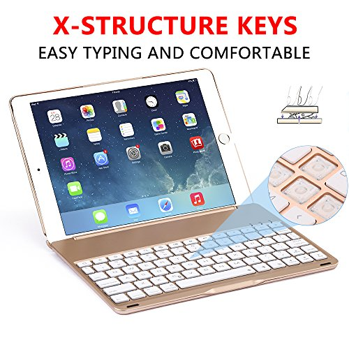 Ipad Pro 9.7 Keyboard Case, NOVT Aluminum Alloy Ultra Thin Smart Bluetooth Wireless Keyboard 7 Color Led Backlit with Protective Case Cover Stand Auto Sleep/Wake for Apple iPad Pro 9.7 Inch (Gold) by NOVT (Image #1)'
