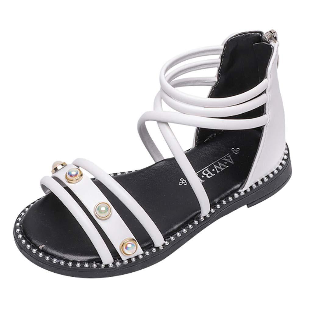 Little Girls Princess Sandals,Jchen Toddler Infant Kids Baby Girls Pearl Single Roman Shoes Beach Zipper Sandals for 1-4 Y (5.5 M US Toddler, White)