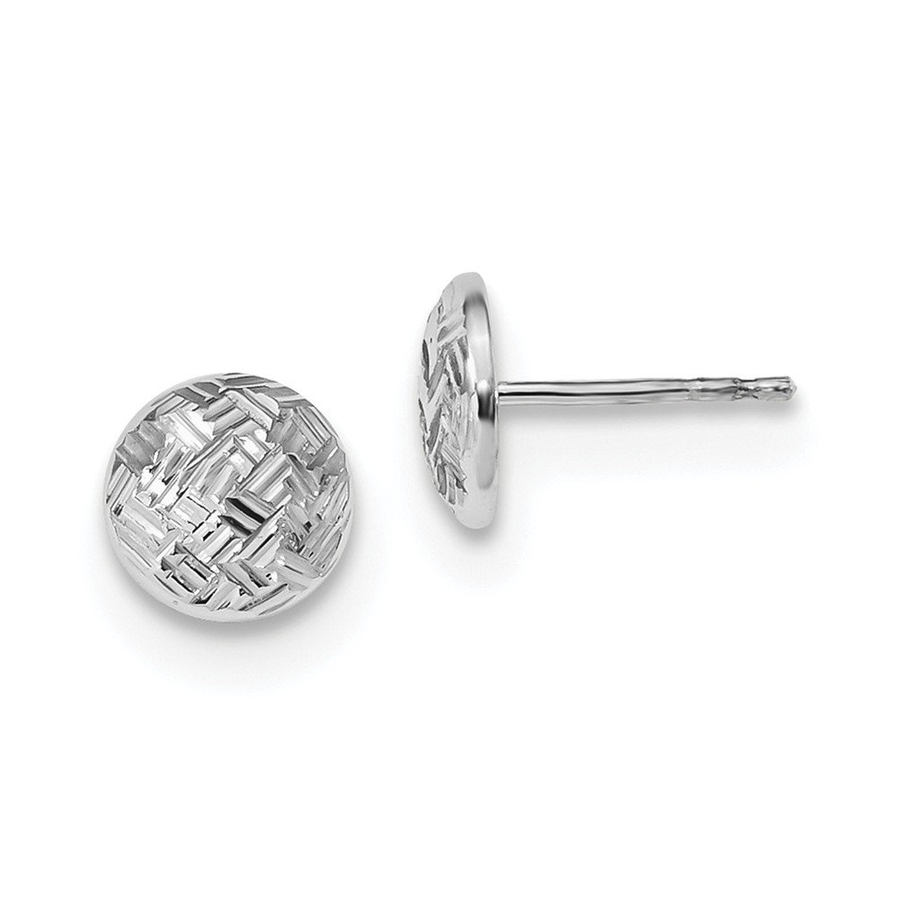 14k White Gold Polished and Textured Post Earrings