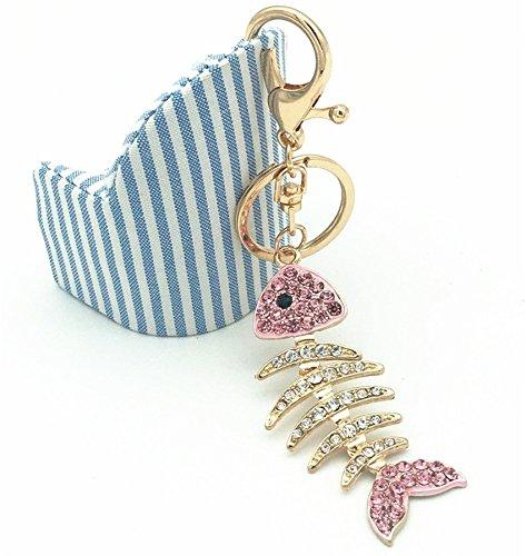 EatingBiting(R)Pink Fish Bone Rhinestone Keychain Key Chain Sparkling Key Ring Charm Purse Pendant Handbag Bag Decoration Holiday Gifts Easy Carry Fashion Popular for Handbag Purse Key -