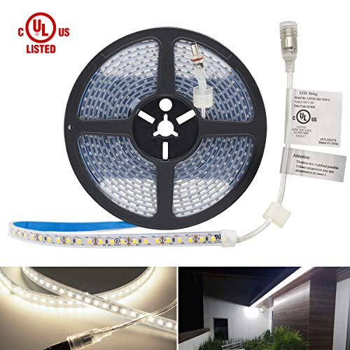 Waterproof Cool White LED Light Strip, Premium High Density 3528 - 16.4 Feet, 600 LEDs, 5000K, 164 Lumens per Foot. 12V DC. UL-Listed ()