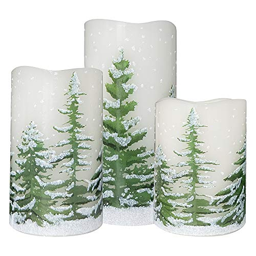 (Wondise Flickering Flameless Candles with 6 Hour Timer, Battery Operated White LED Pillar Candles Real Wax Warm Light Set of 3 Christmas Tree Decal Candles Home Decoration Gifts(3 x 4-6 Inch))