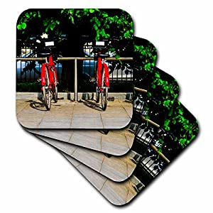 3dRose Alexis Photography - Transport Bike - Red bicycles for hire in the street on a summer day - set of 4 Ceramic Tile Coasters (cst_265672_3)