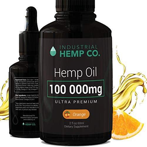 Industrial Hemp Co.100 000 mg | Pure Hemp Oil Drops, Best Hemp Oil for Pain, Stress and Anxiety Relief | USA | 2 Fl Oz (60ml)
