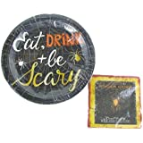 Halloween Eat, Drink And Be Scary Paper Plates & Napkin Set (18 - 9 In. Dinner Plates and 24 - 10 In. Napkins)