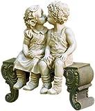 "Kissing Boy & Girl on Bench Detailed Garden Ceramic Garden Yard Statue Art 15"" X 12-1/2"" X 5-3/4"""