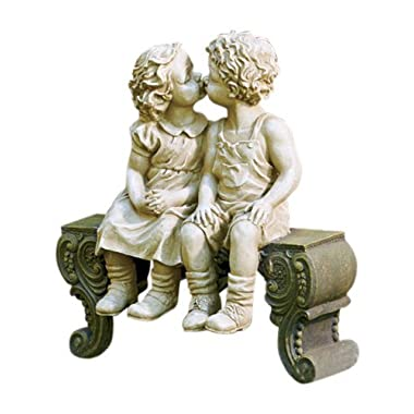 Kissing Boy & Girl on Bench Detailed Garden Ceramic Garden Yard Statue Art 15  X 12-1/2  X 5-3/4