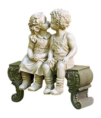 Kissing Boy U0026 Girl On Bench Detailed Garden Ceramic Garden Yard Statue Art  15u0026quot; X