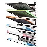 SamStar 6 Tier Hanging Wall File Holder Organizer, Legal / Letter Size, Metal Mesh Document Holder for Office, Home, Black