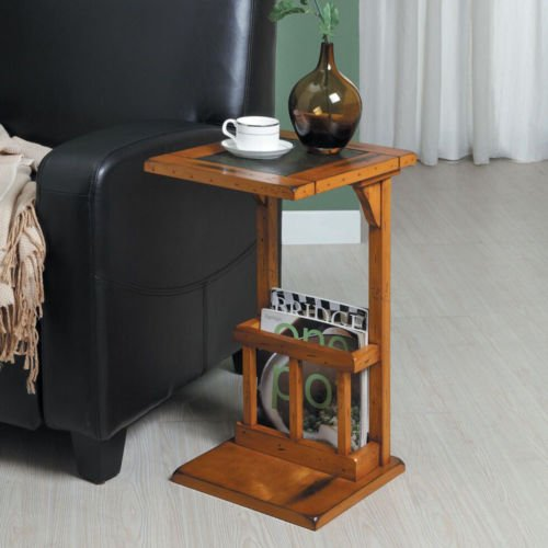 Aart Brown Two-tone Slate Inset Accent Magazine Rack Chairside Table, Oak Finish