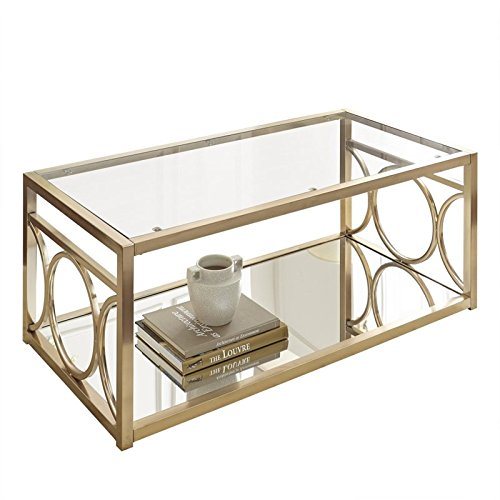 glass and gold coffee table - 4