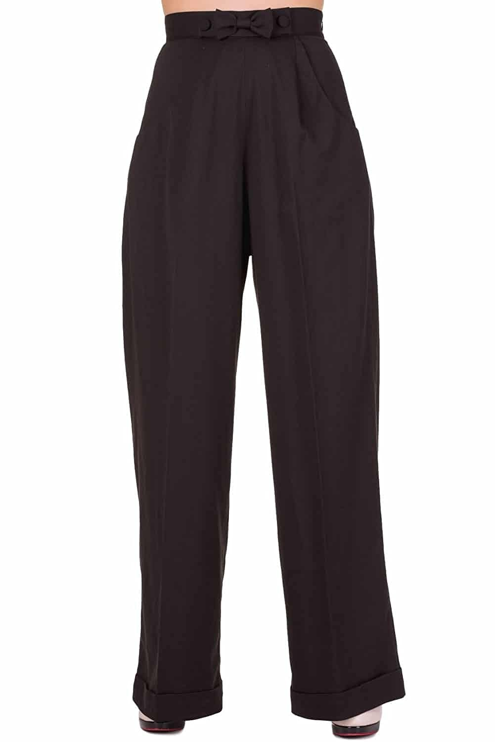 Banned Hidden Away High Waist Retro 40s 50s Office Formal Pants Wide Trousers