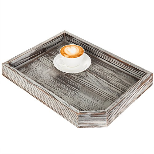 (MyGift Vintage Distressed Brown Wood Breakfast Coffee Table Tray, Office Desktop File, Mail, Document Holder)