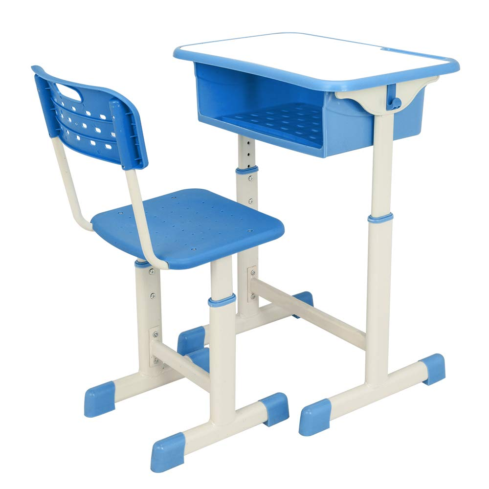 FCH Children's Desk and Chair Set,Height Adjustable Desk and Chair with Hanging Hooks and Pencil Groove (Blue) by FCH (Image #2)