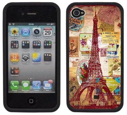 Tour Eiffel Ancien   Fait à la main   iPhone 4 4s   Etui Housse noir