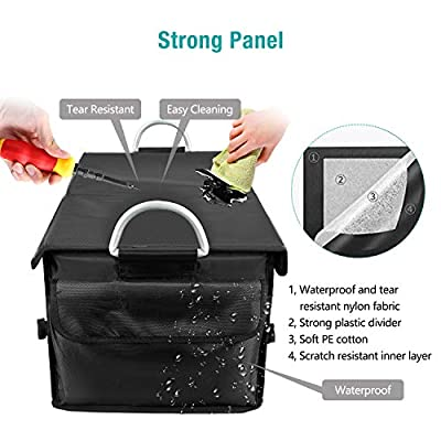 SOLOFISH Car Trunk Organizer with Cover, Cargo Storage Organizer Heavy Duty Collapsible with Aluminium Alloy Handle and Reflective Stripe -Black: Automotive