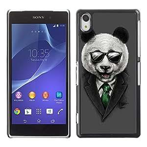 CaseCaptain Carcasa Funda Case - Sony Xperia Z2 / Classy Panda & Sunglasses Illustration /