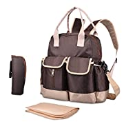 Diaper Bag-Waterproof backpack with Changing Pad,Shoulder Straps and Thermal Insulated Pocket Brown