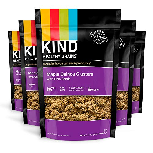 KIND Healthy Grains Clusters, Maple Quinoa with Chia Seeds Granola, Gluten Free, 11 Ounce Bags, 6 Count