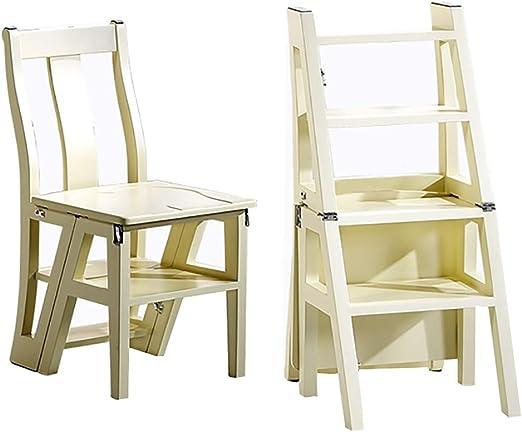 Step stool Escalera Plegable Taburete Silla de Madera Maciza con ...
