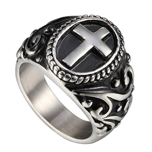 Zoro Jewelry Classic Vintage Christian Cross Prayer Ring, Stainless Steel Retro Flower Pattern Beads Chain Oval Band (Bead Ring Patterns)