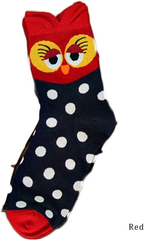 QTBWen Interesante Kawaii Colorido Búho Calcetines de Mujer 100% Algodón Calcetines para Camping, Picnic y Otro Actividades Al Aire Libre - Rojo, S: Amazon.es: Deportes y aire libre