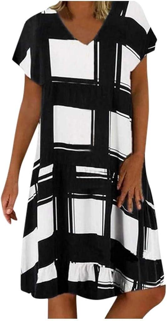 ANJUNIE Women Loose V Neck Tee Dress Short Sleeve Printed Plus Size Short Sundress T Shirt Blouse Dress