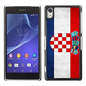 Shell-Star ( National Flag Series-Croatia ) Snap On Hard Protective Case For SONY Xperia Z2 / D6502 / L50W