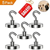 new years garage magnets - Magnetic Hooks Set of 5 Strong Heavy Duty Magnet Hook Removable Multiuse for Refrigerator Kitchen Home Storage Industrial Organizer Hanger Sliver Holiday Week Christmas Day Gift