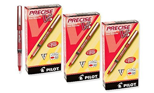 Pilot Precise V5 Stick Rolling Ball Pens, Extra Fine Point, 36 Pens, Red Ink