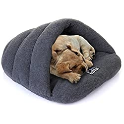 Yuting Cozy Plush Pet Bed Cave Mat for Small Dog Cat(S/M/L) (S, gray)