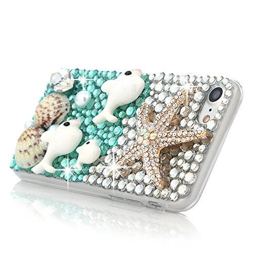 Mavis's Diary Coque iPhone 7 PC Rigide Transparent Bling Strass Baleine Housse de Protection Étui Téléphone Portable Phone Case Cover+Chiffon