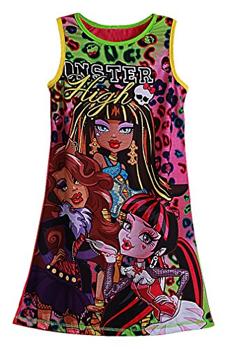 Fairy's Girls' Simple Multicolor Printed Monster High No Sleeve Mini Shift Dress, 1 7 ()
