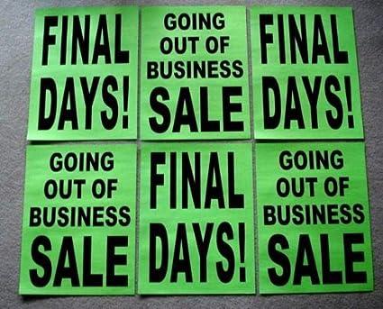 Amazon.com: 6 carteles de papel para salir de la venta de ...