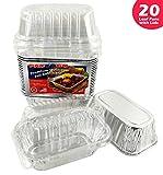 Pactogo Disposable 1 lb. Aluminum Foil Mini Loaf Pans with Clear Dome Lids (Pack of 20 Sets)
