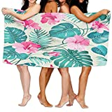 Gemao Beach Towel Tropical Flower Pattern Custom Personalized Microfiber Absorbent Solid Picnic Mat