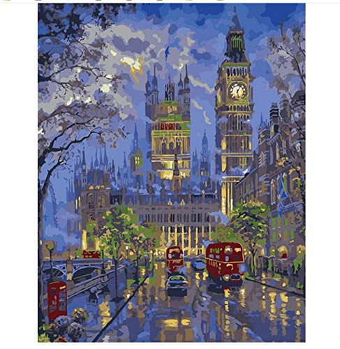 QIANDONG1 London Night View Painting by Numbers Picture Modular DIY Oil Painting On Canvas Home Cuadros Decor Wall Art,40x50cm,Frameless -