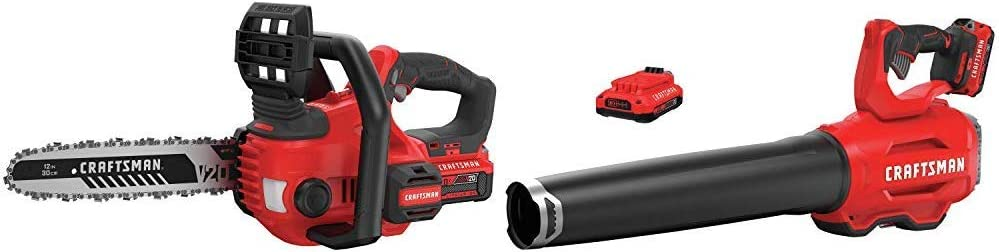 CRAFTSMAN CMCCS620M1 V20 12 Cordless Compact Chainsaw with CMCBL720D2 V20 Handheld Blower