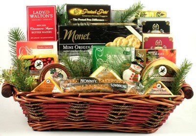 The Smorgasbord O' Cheese Holiday Theme Deluxe Cheese and Treats Variety Gift Basket | Christmas Gift Basket by Organic Stores